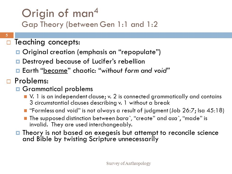 Origin of man4 Gap Theory (between Gen 1:1 and 1:2