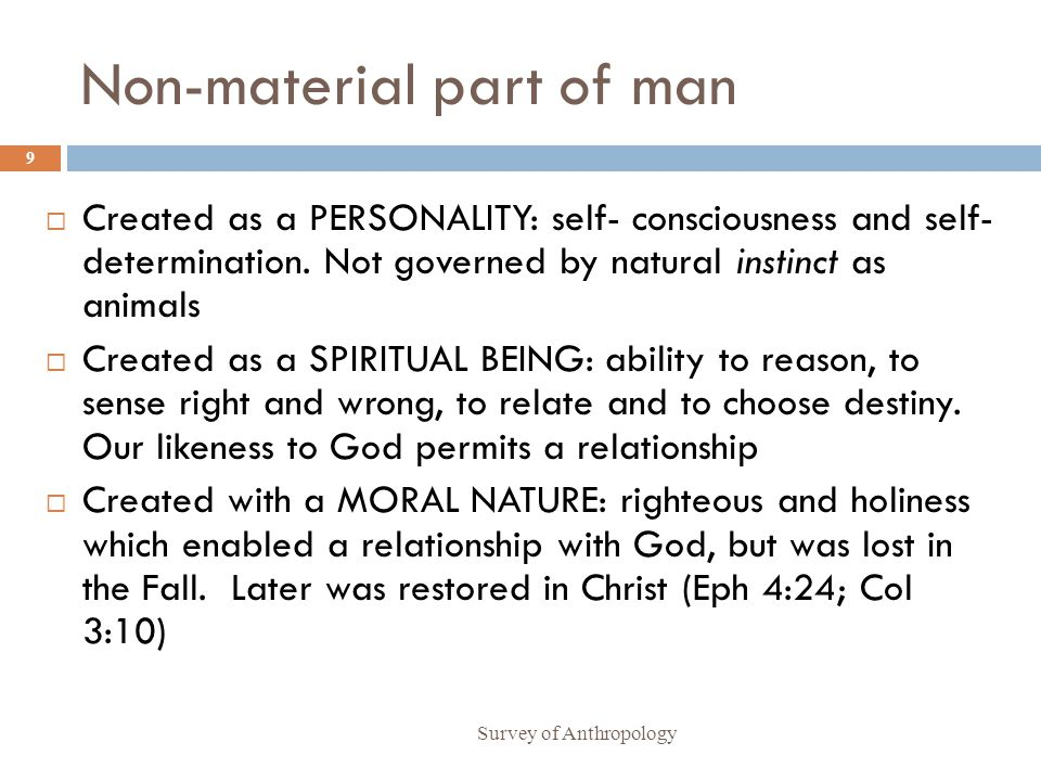 Non-material part of man