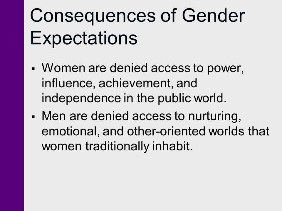 Consequences of Gender Expectations