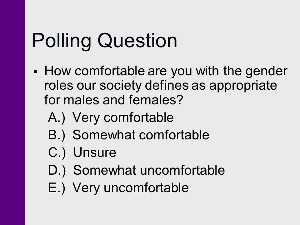 Polling Question How comfortable are you with the gender roles our society defines as appropriate for males and females