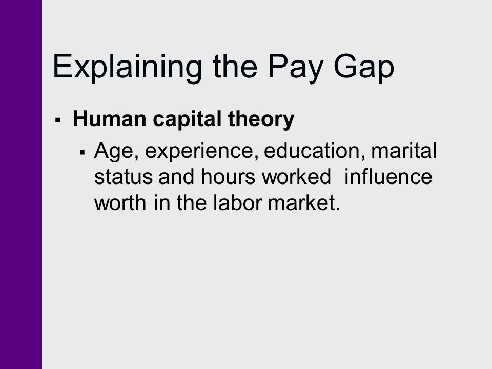 Explaining the Pay Gap Human capital theory