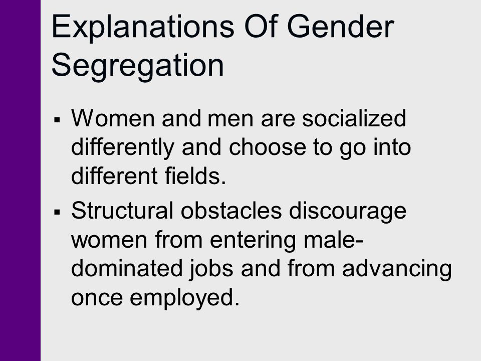 Explanations Of Gender Segregation