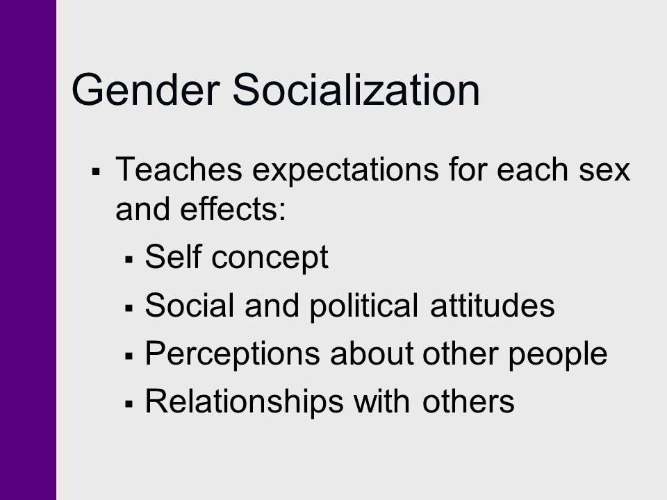 Gender Socialization Teaches expectations for each sex and effects: