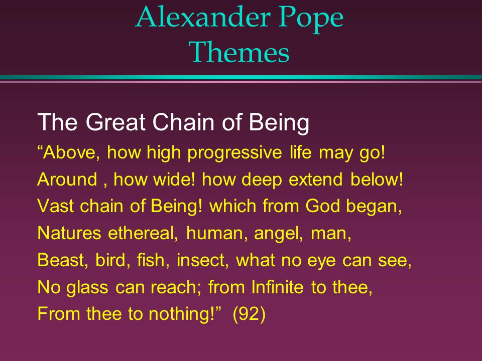 Alexander Pope Themes The Great Chain of Being