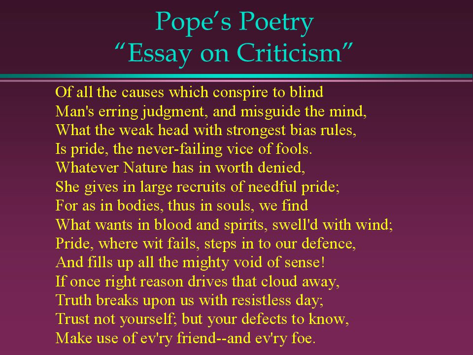 Pope's Poetry Essay on Criticism