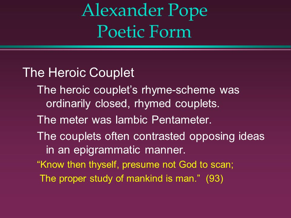 Alexander Pope Poetic Form