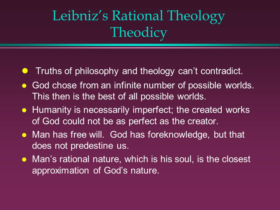 Leibniz's Rational Theology Theodicy
