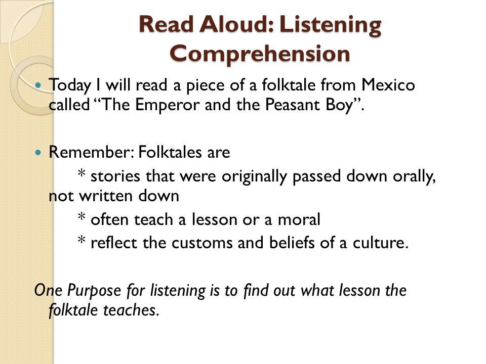 Read Aloud: Listening Comprehension