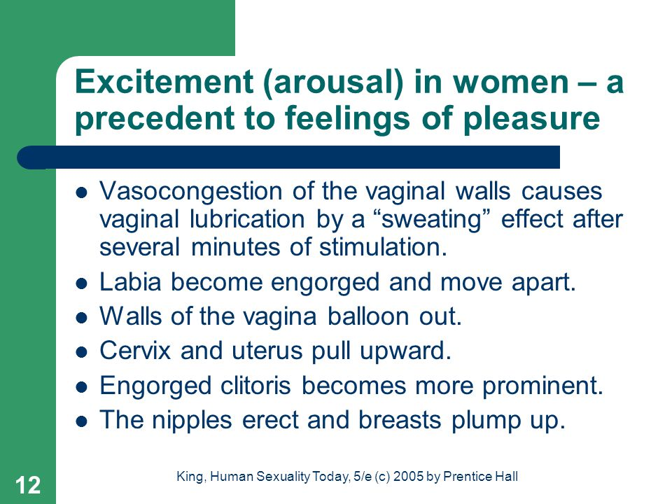 Excitement (arousal) in women – a precedent to feelings of pleasure
