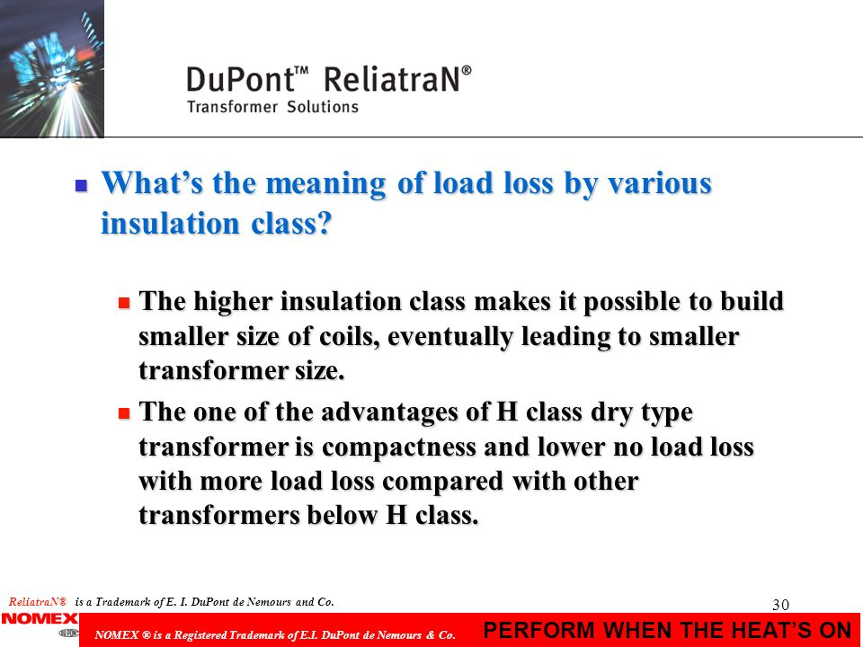 What's the meaning of load loss by various insulation class