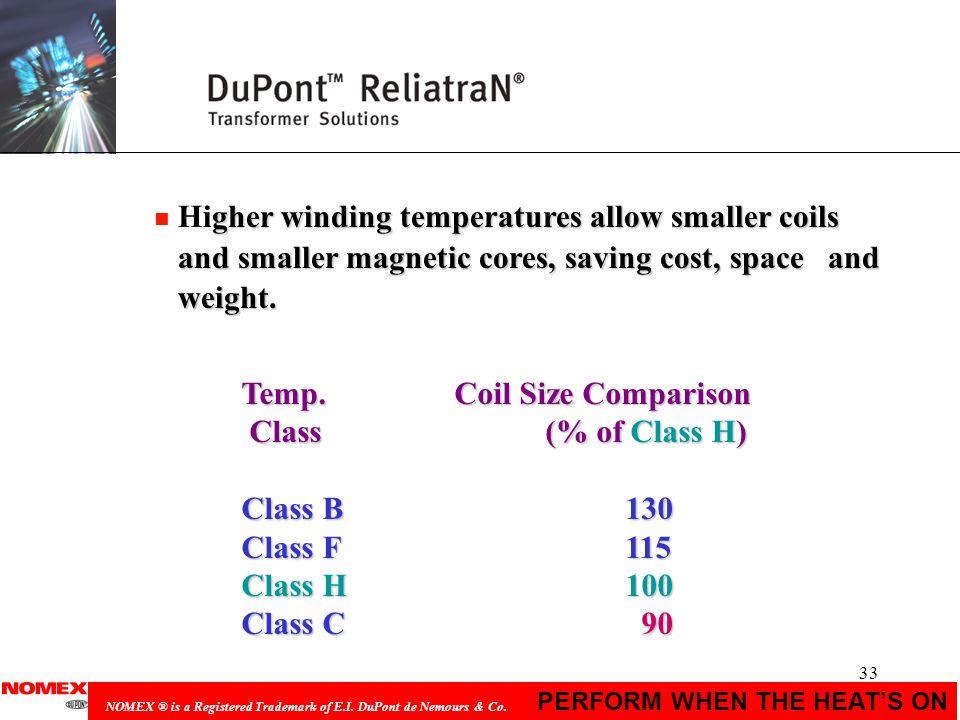 Temp. Coil Size Comparison Class (% of Class H) Class B 130
