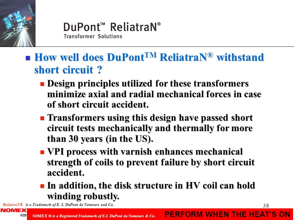 How well does DuPontTM ReliatraN® withstand short circuit