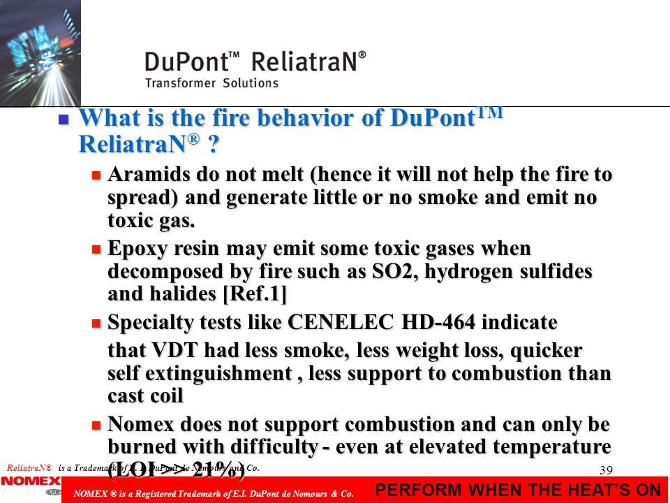 What is the fire behavior of DuPontTM ReliatraN®