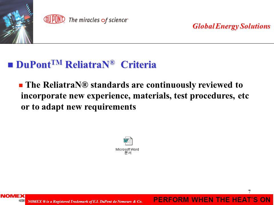 DuPontTM ReliatraN® Criteria