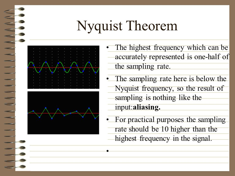 Nyquist Theorem The highest frequency which can be accurately represented is one-half of the sampling rate.