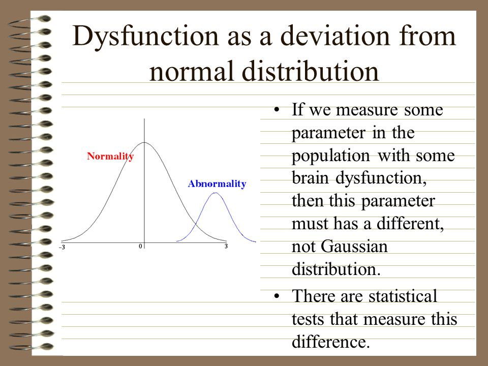 Dysfunction as a deviation from normal distribution