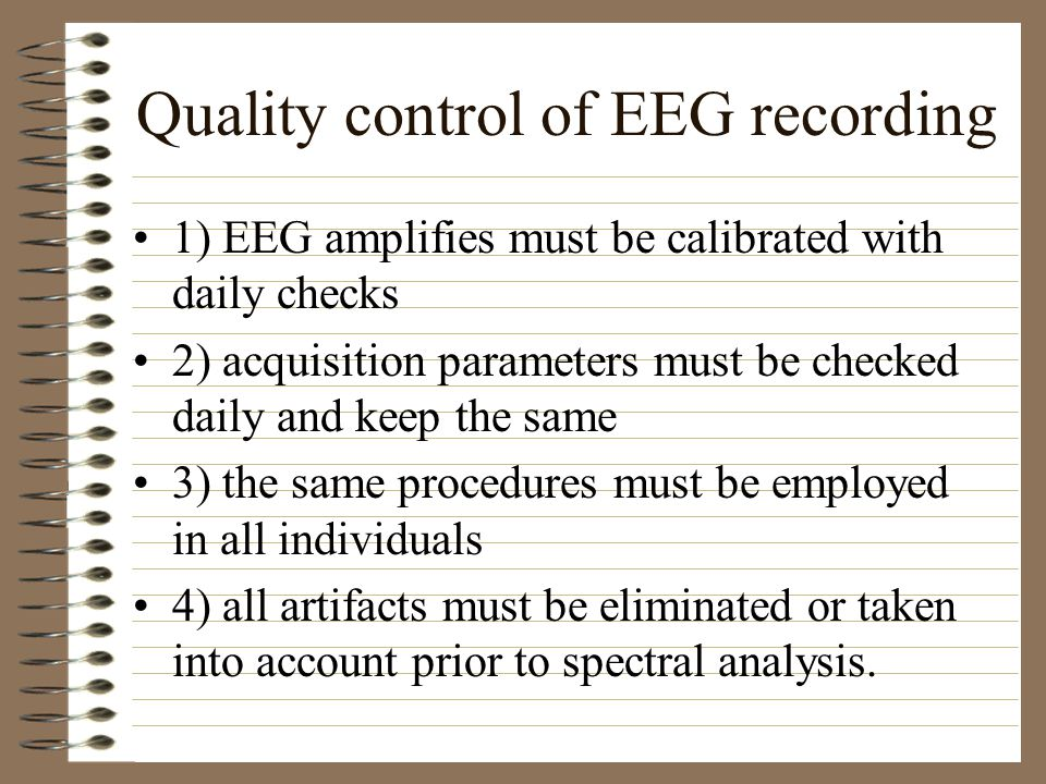 Quality control of EEG recording
