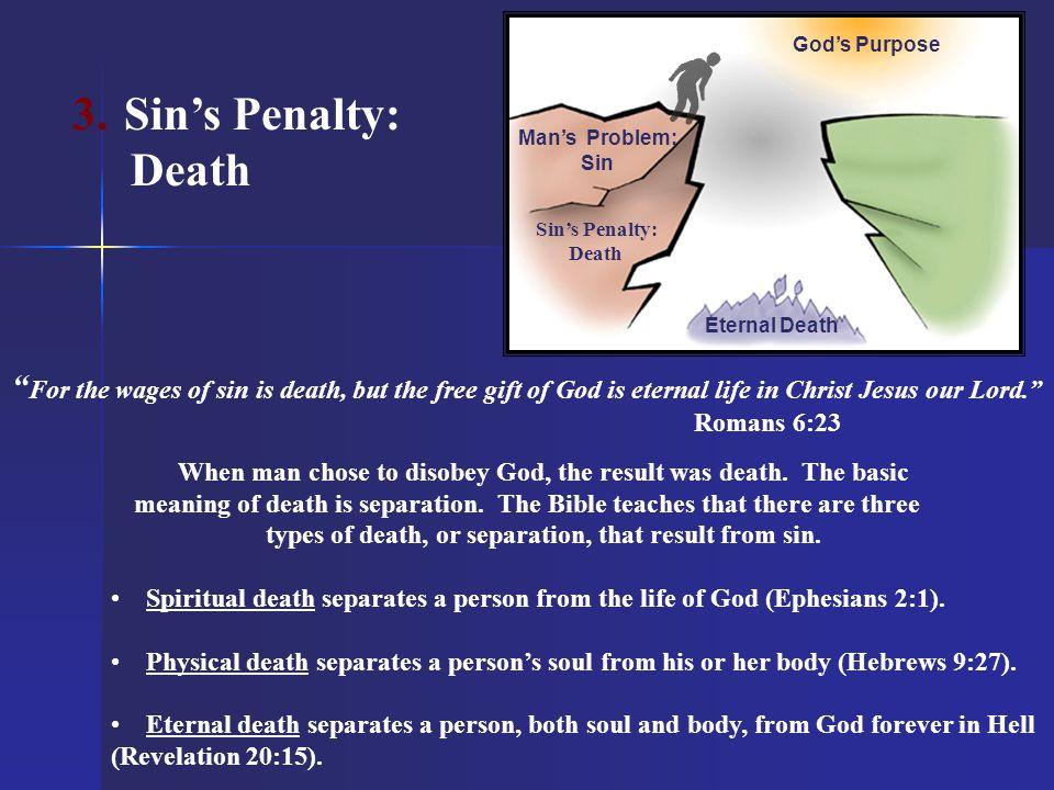 God's Purpose Sin's Penalty: Death. Man's Problem: Sin. Sin's Penalty: Death. Eternal Death.