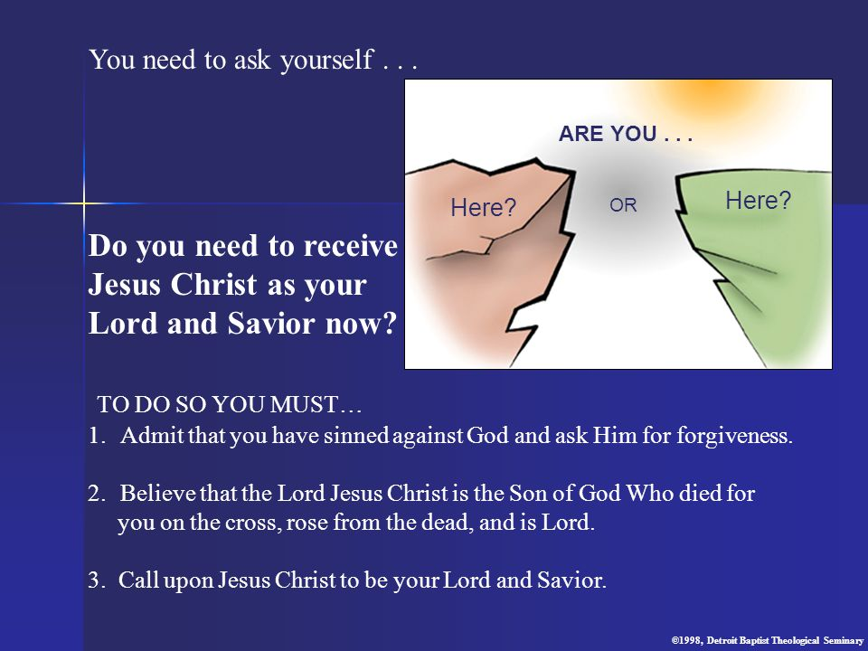 Do you need to receive Jesus Christ as your Lord and Savior now