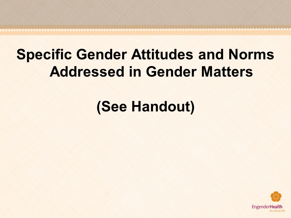 Specific Gender Attitudes and Norms Addressed in Gender Matters