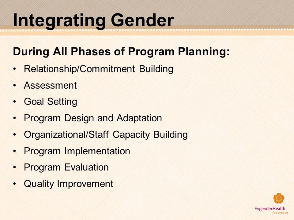 Integrating Gender During All Phases of Program Planning: