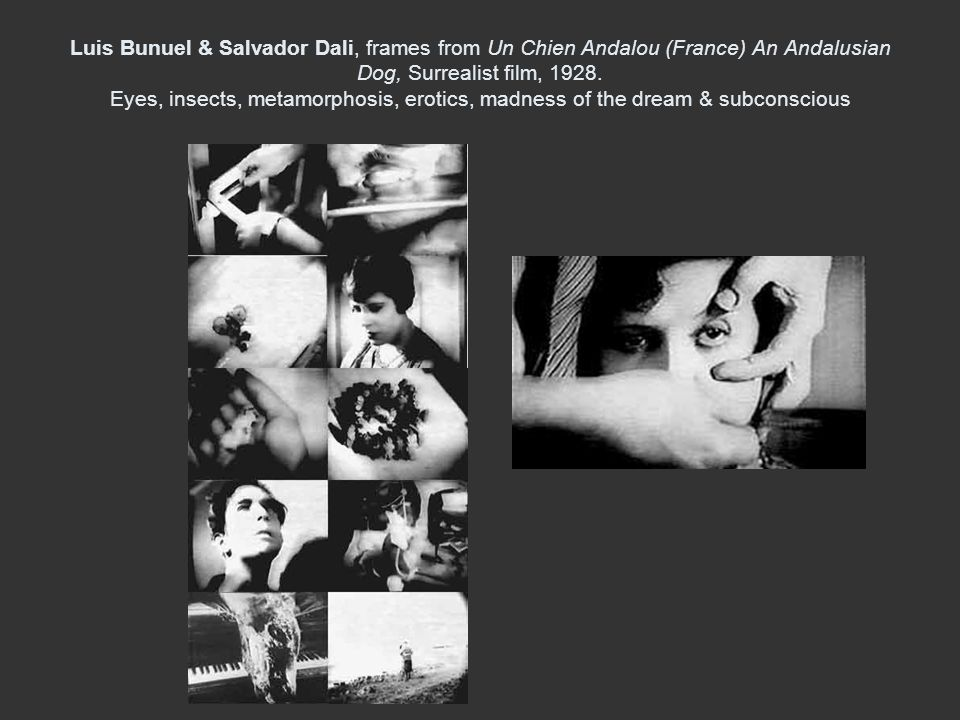 Luis Bunuel & Salvador Dali, frames from Un Chien Andalou (France) An Andalusian Dog, Surrealist film, 1928.