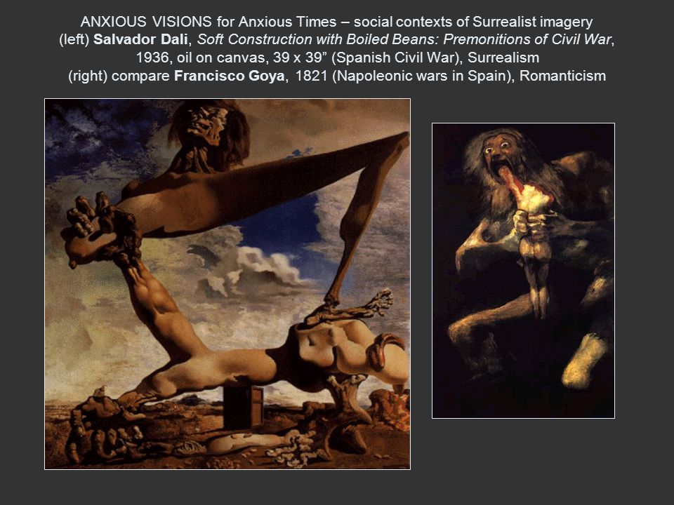 ANXIOUS VISIONS for Anxious Times – social contexts of Surrealist imagery (left) Salvador Dali, Soft Construction with Boiled Beans: Premonitions of Civil War, 1936, oil on canvas, 39 x 39 (Spanish Civil War), Surrealism (right) compare Francisco Goya, 1821 (Napoleonic wars in Spain), Romanticism