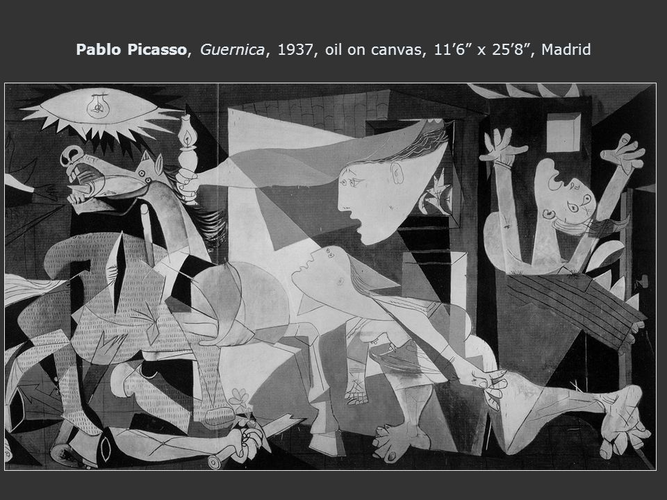 Pablo Picasso, Guernica, 1937, oil on canvas, 11'6 x 25'8 , Madrid