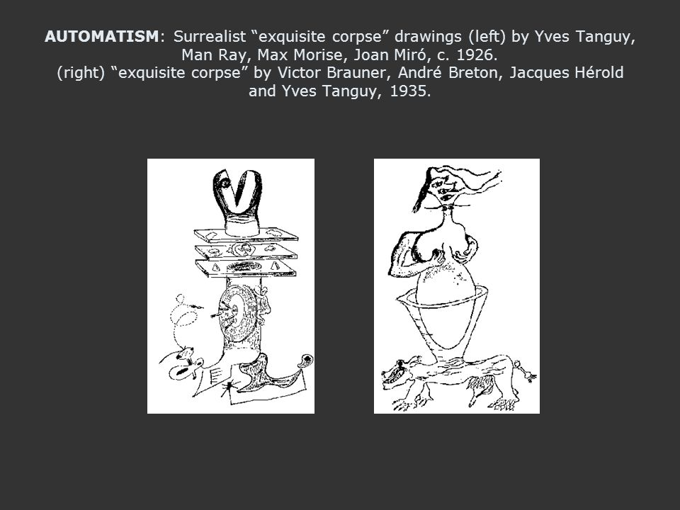 AUTOMATISM: Surrealist exquisite corpse drawings (left) by Yves Tanguy, Man Ray, Max Morise, Joan Miró, c.