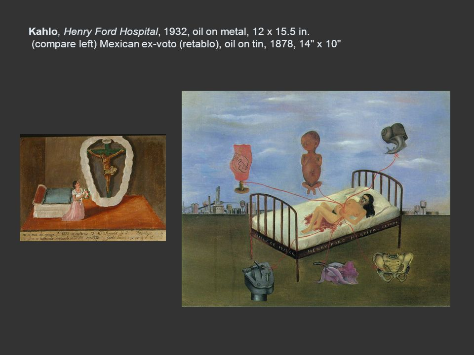 Kahlo, Henry Ford Hospital, 1932, oil on metal, 12 x 15. 5 in