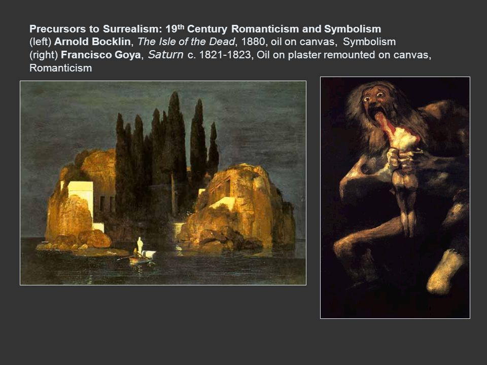 Precursors to Surrealism: 19th Century Romanticism and Symbolism (left) Arnold Bocklin, The Isle of the Dead, 1880, oil on canvas, Symbolism (right) Francisco Goya, Saturn c.