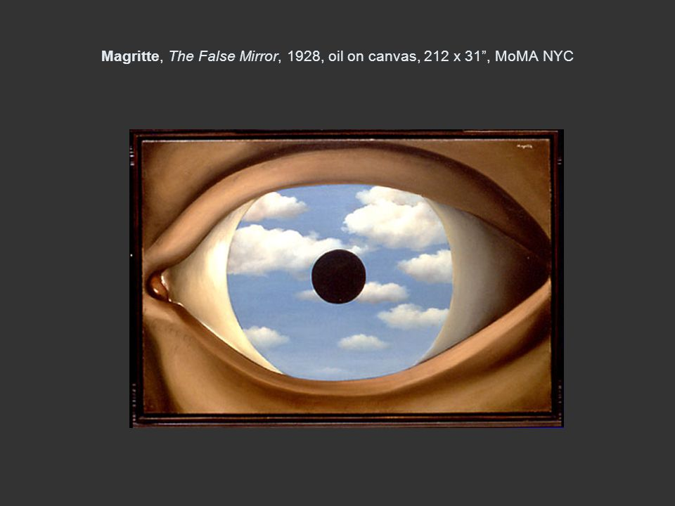 Magritte, The False Mirror, 1928, oil on canvas, 212 x 31 , MoMA NYC