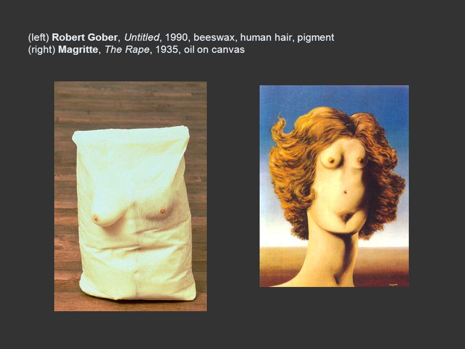 (left) Robert Gober, Untitled, 1990, beeswax, human hair, pigment (right) Magritte, The Rape, 1935, oil on canvas
