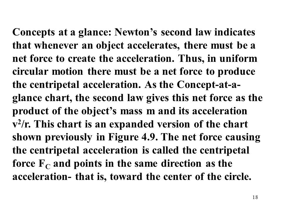 Concepts at a glance: Newton's second law indicates that whenever an object accelerates, there must be a net force to create the acceleration.