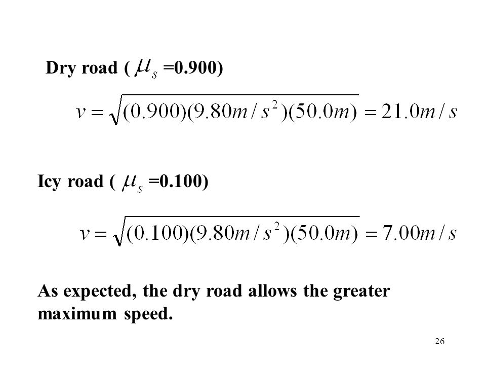 Dry road ( =0.900) Icy road ( =0.100) As expected, the dry road allows the greater maximum speed.