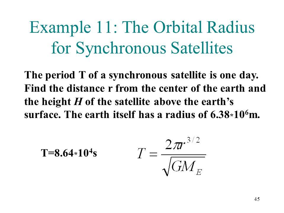 Example 11: The Orbital Radius for Synchronous Satellites