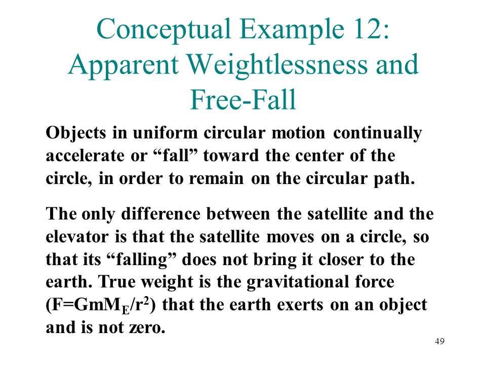 Conceptual Example 12: Apparent Weightlessness and Free-Fall