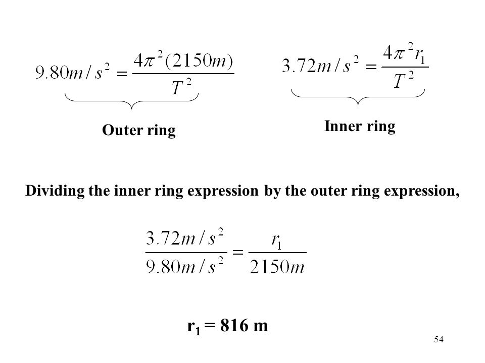 r1 = 816 m Inner ring Outer ring