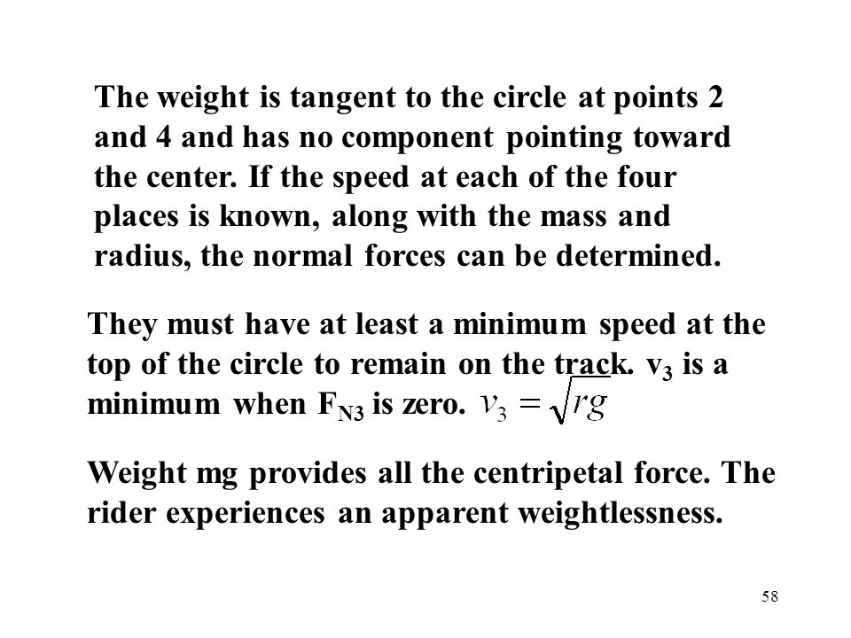 The weight is tangent to the circle at points 2 and 4 and has no component pointing toward the center. If the speed at each of the four places is known, along with the mass and radius, the normal forces can be determined.