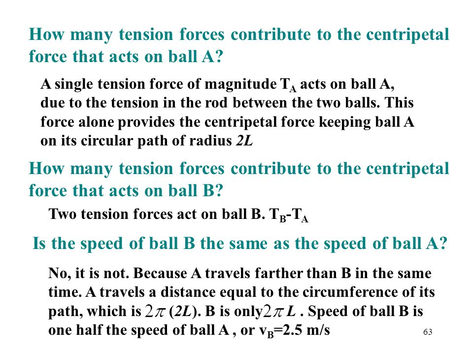 Is the speed of ball B the same as the speed of ball A