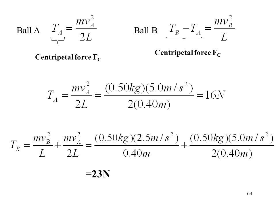 Ball A Ball B Centripetal force FC Centripetal force FC =23N
