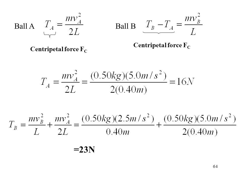 Ball A Ball B Centripetal force FC Centripetal force FC =23N