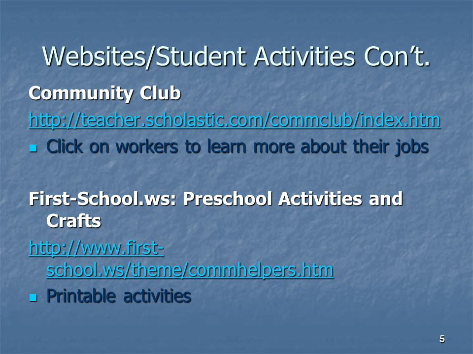 Websites/Student Activities Con't.