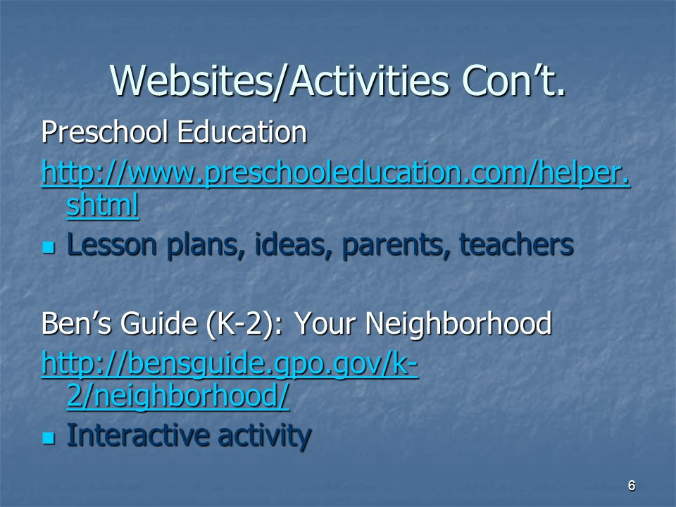 Websites/Activities Con't.