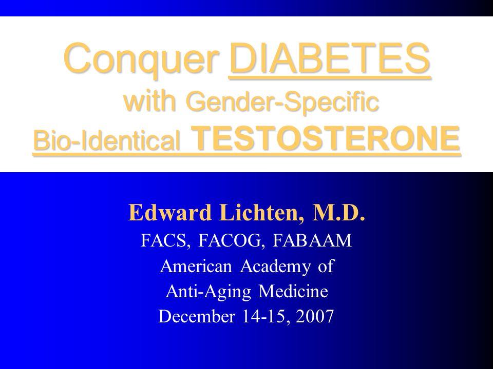 Conquer DIABETES with Gender-Specific Bio-Identical TESTOSTERONE