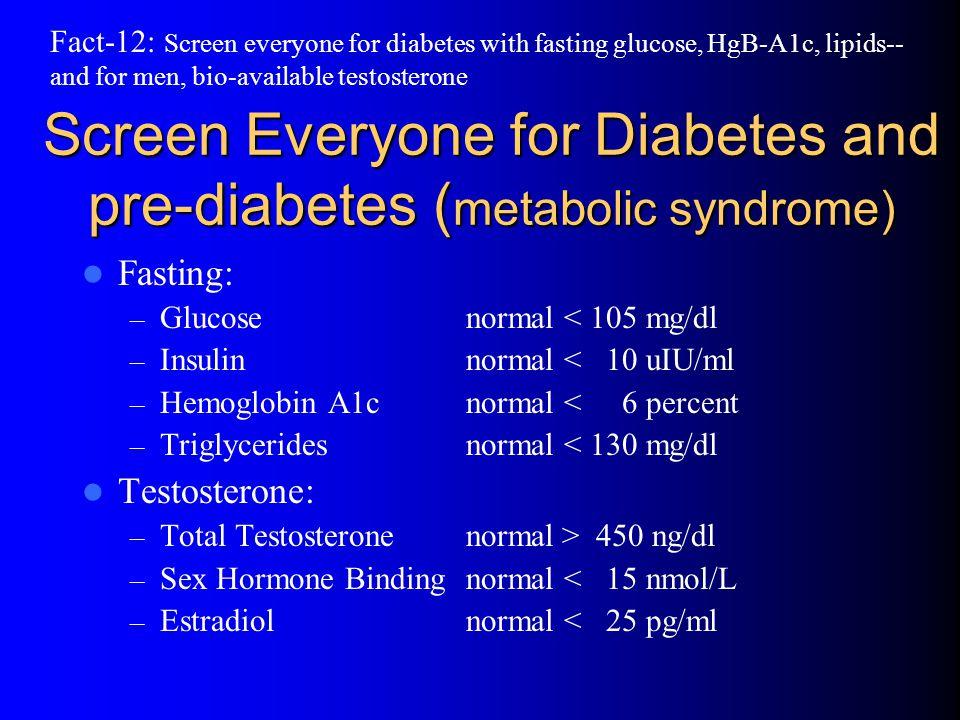 Screen Everyone for Diabetes and pre-diabetes (metabolic syndrome)