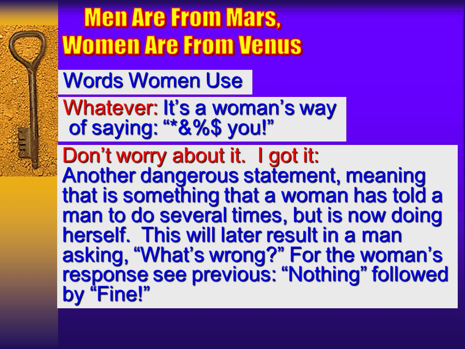 Men Are From Mars, Women Are From Venus Words Women Use