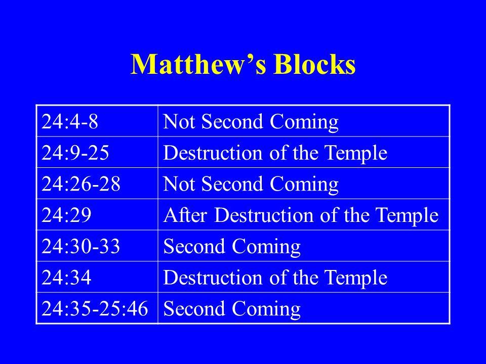 Matthew's Blocks 24:4-8 Not Second Coming 24:9-25