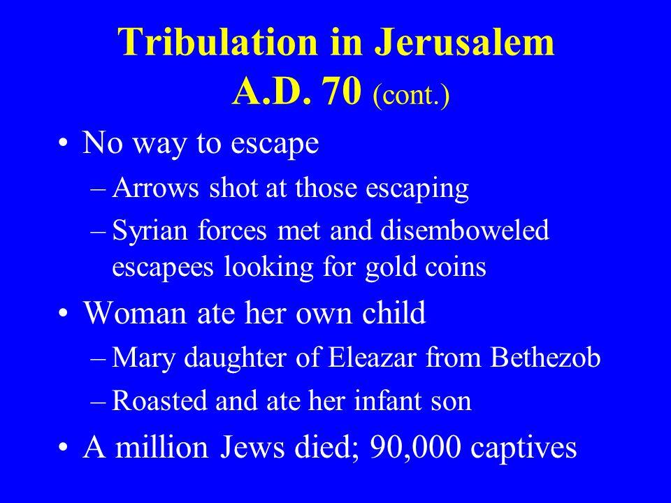 Tribulation in Jerusalem A.D. 70 (cont.)