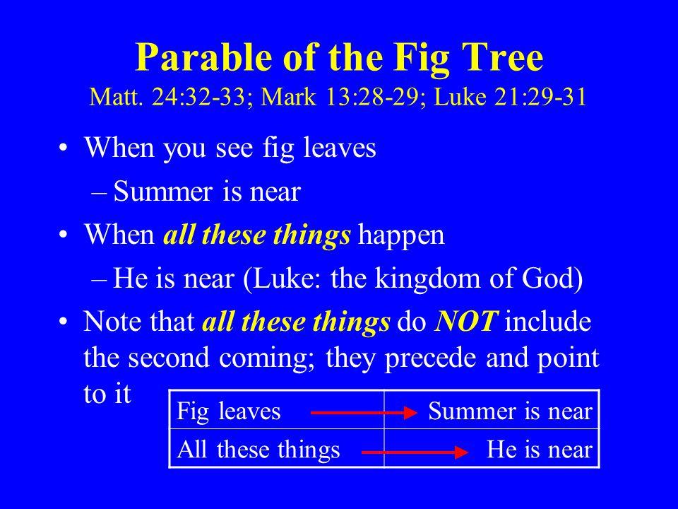 Parable of the Fig Tree Matt. 24:32-33; Mark 13:28-29; Luke 21:29-31